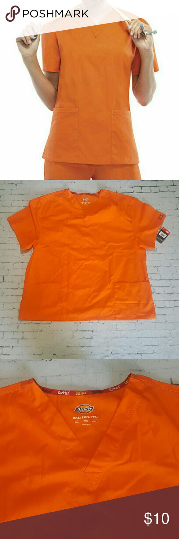 CLEARANCE Dickies Orange Scrub Top-2XL New with tags. Size 2xl.  Any two scrub tops for $13  Grey's Anatomy  Urbane HeartSoul  Iguana  Dickies Med Couture Cherokee  Koi Landau Dickies Tops