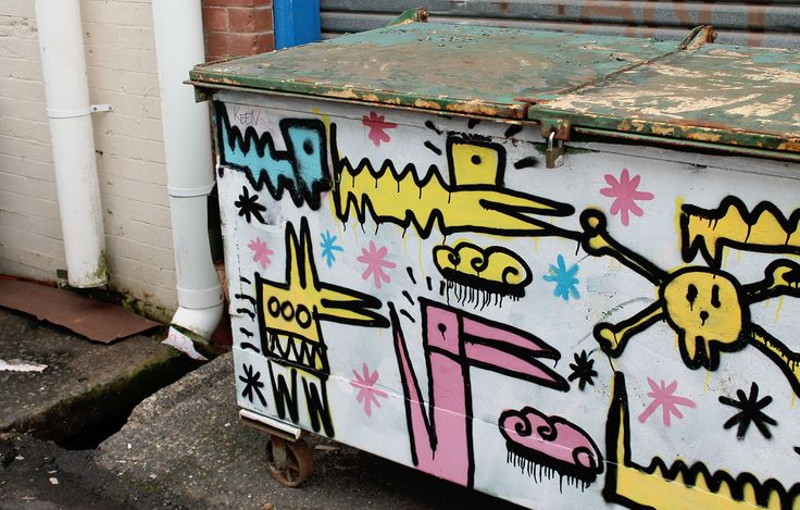 If only all dumpsters could look this funky - Part of the street art program in Lismore (Australia) called The Back Alley Gallery.