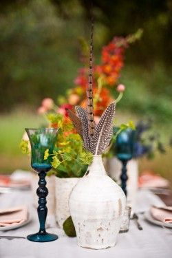 Gypsy Wedding Ideas Blue Goblets and Feather Centerpieces