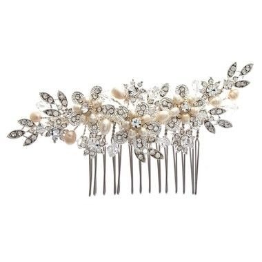 Summer or Spring bouquet wedding hair comb full of freshwater pearls & sparkling diamante crystals a real stunner!