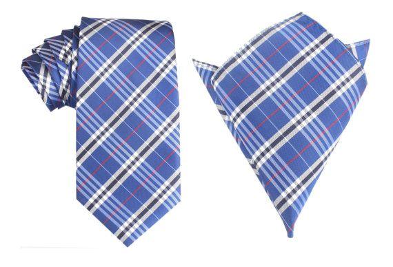 Matching Necktie  Pocket Square Combo Scotch Blue Pattern by OTAA, $43.95