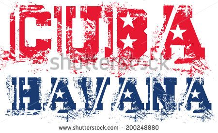 cuba havana  text flag vector art - stock vector