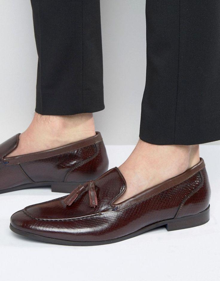 KG KURT GEIGER HOLMAN LEATHER TASSEL LOAFERS - RED. #kgkurtgeiger #shoes #
