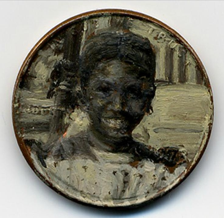 Abe's Millennium, 1973 oil on penny    http://jacquelinelouskaggs.com/section/192725_Tondi_observations.html