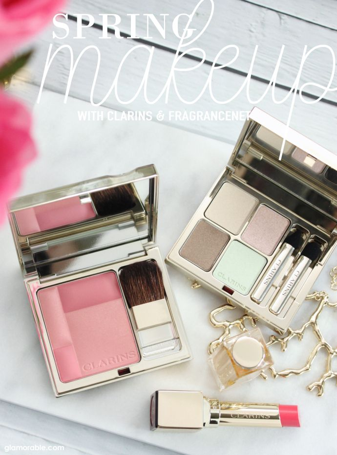 How to Refresh Your Makeup Look for Spring with #FragranceNet   Products featured: Clarins Eye Quartet Mineral Palette #01 Pastels, Clarins Blush Prodige Illuminating Cheek Color #03 Miami Pink, Clarins Rouge Eclat Satin Finish Age Defying Lipstick #04 Tropical Pink Swatches