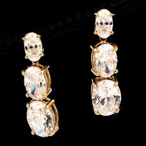 Shop 14KY 2.60ctw CZ Oval 3-Stone Graduated Earrings and other jewelry, art, coins, rugs and real estate at www.aantv.com