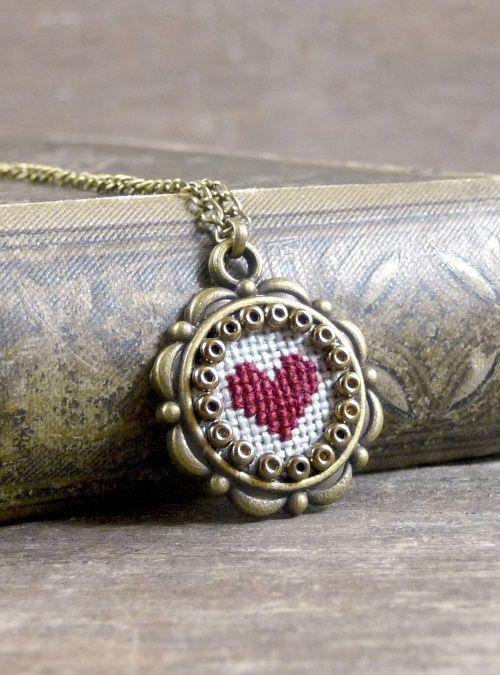 Tiny cross stitch heart necklace, Valentine's Day cross stitch heart pendant…