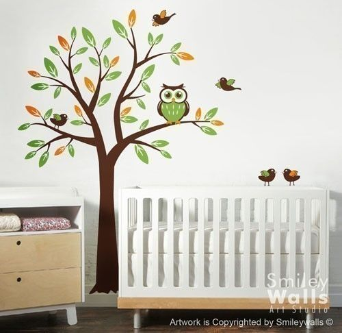 Tree with Owl and Birds  Nursery Vinyl Wall Decal by smileywalls, $73.00