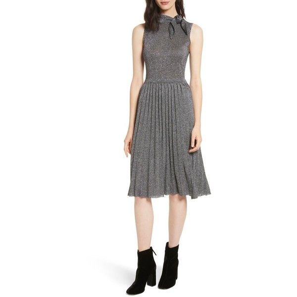 Women's Kate Spade New York Metallic Knot Sweater Dress ($378) ❤ liked on Polyvore featuring dresses, dark silver, silver sparkly dress, neck ties, white dresses, silver necktie and sparkly dresses