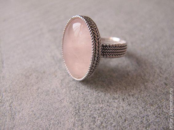 Купить Серебряное кольцо с розовым кварцем, филигрань - бледно-розовый, серебряное кольцо, розовый кварц