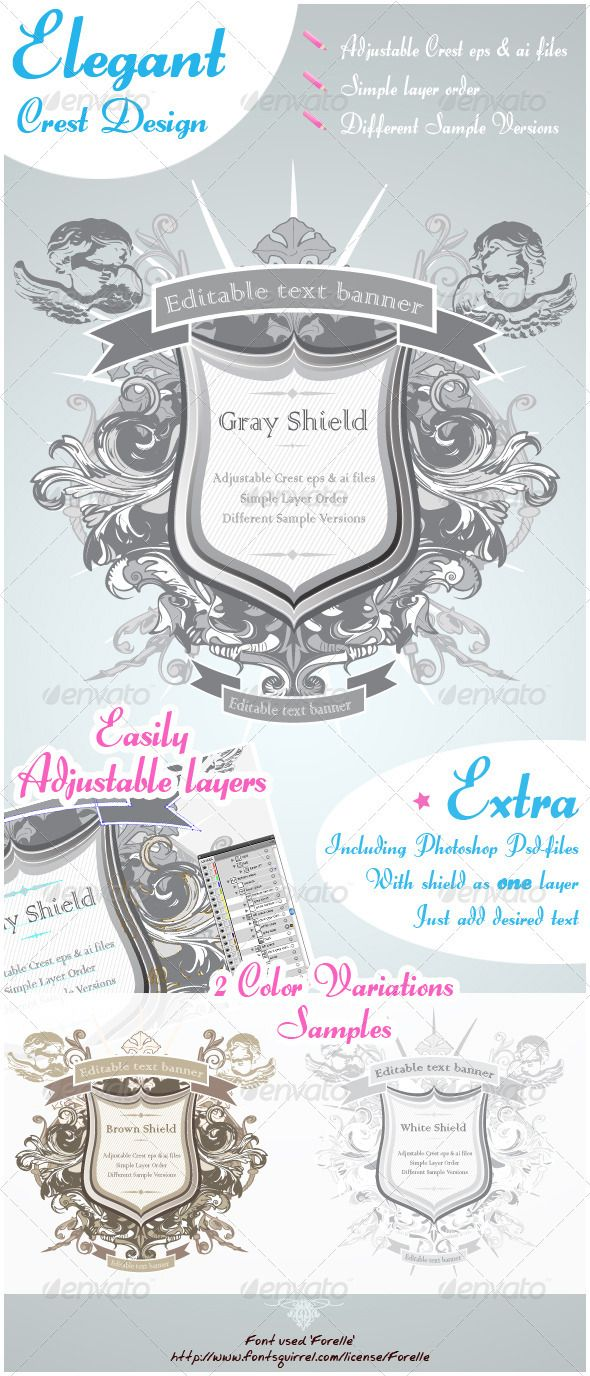 Ornate Shield Design  #GraphicRiver         A highly ornamented crest / weapon shield 3 different versions as samples Complete with Vector files, easy to navigate through the layers and make changes wherever you would like. Text can be simply removed and replaced by new one.   Also included are Psd-files with the whole design (except the text layers) in one layer. very easy to use and adjust   In total: 3 Ai-files 3 Eps-files 3 Psd-files font 'Forelle'     Created: 21March12…