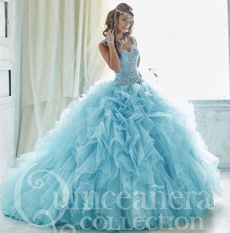 2016 Stunning Sky Blue Quinceanera Dresses puffy heavily beaded prom dress sweet 16 dresses vestido de 15 anos