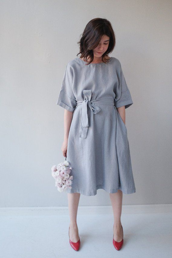 Oversized Linen Dress w Pockets — Light French Blue - Millay