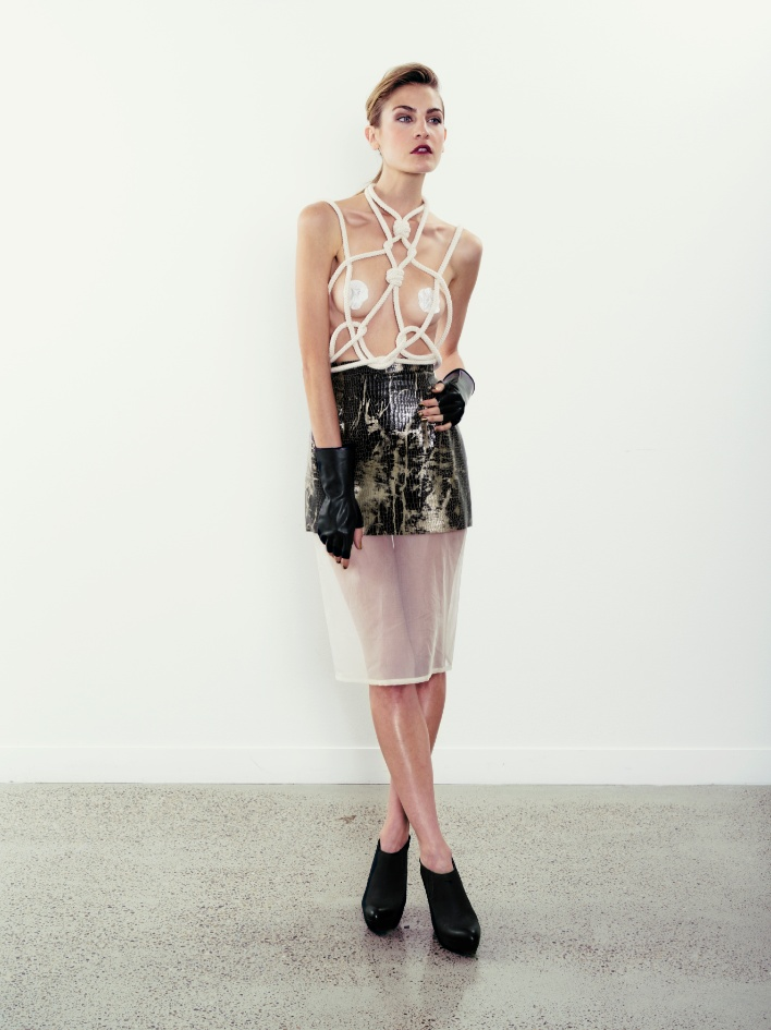 Rope Top With croc & Organza Skirt.