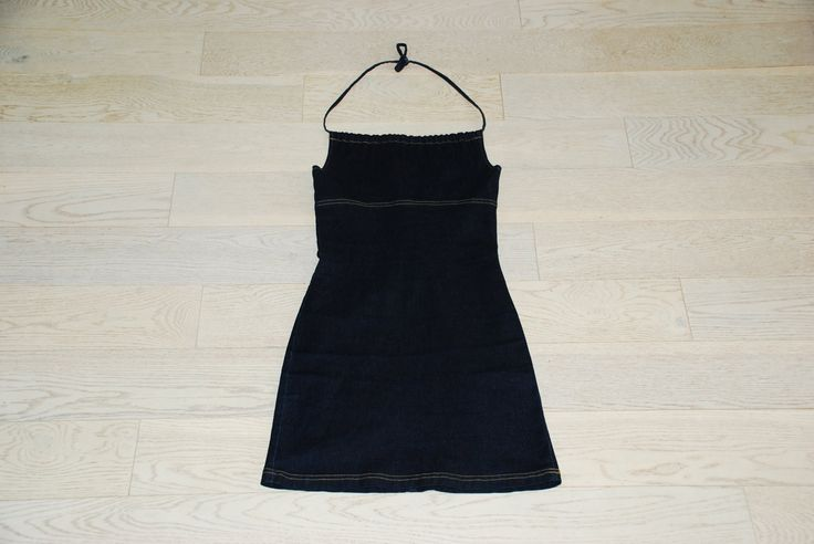 $15 90's Denim Halter Dress 90's Cool Festival Look by TheAmberEdit