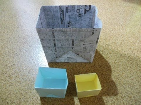 How to make a big box.Origami - YouTube.....I use newspaper to make like a wastebasket for my table when I'm art journaling