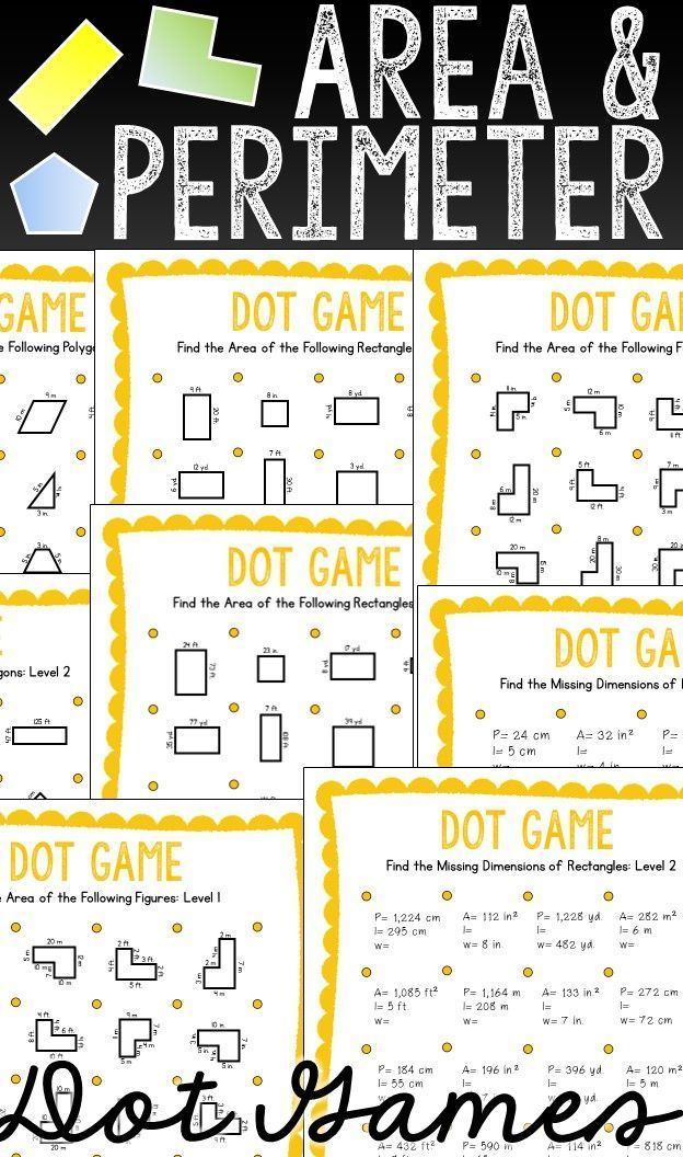 Area and Perimeter Dot games are a fun and easy way to practice finding area and perimeter of rectangles and other polygons. Dot games are engaging for early-finishers, math centers, and review of finding area and perimeter.