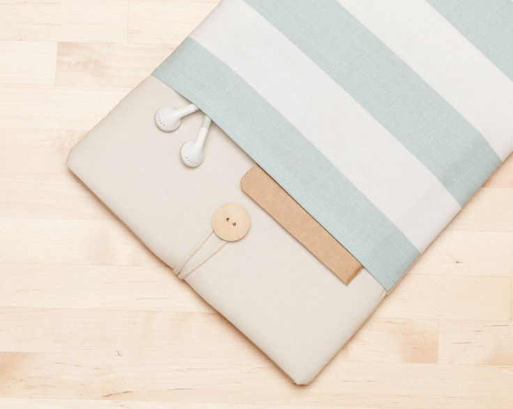 Macbook pro 13 case / Laptop case / Macbook air 13 sleeve / Custom Laptop sleeve / padded with pockets - Teal stripes in cream - by nimoo on Etsy https://www.etsy.com/listing/248988940/macbook-pro-13-case-laptop-case-macbook