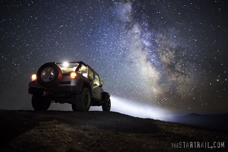 Here's some Jeep porn under the stars for you ;-) This is ONE exposure! No camera tricks here. Just alot of playing around with how long we kept the high beams and brake/interior lights on.