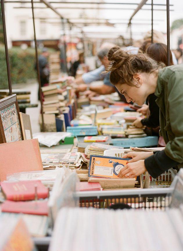 Antique books at Portebello Road Market in London