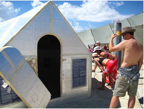 """On my trip to Burning Man this year, I noticed quite a few camps utilizing the Hexayurt. A model of this affordable """"refugee"""" shelter was also on display along with the art on the playa, and I was suprised how cool it was in the boiling heat, and how sturdy it was against the notorious …"""