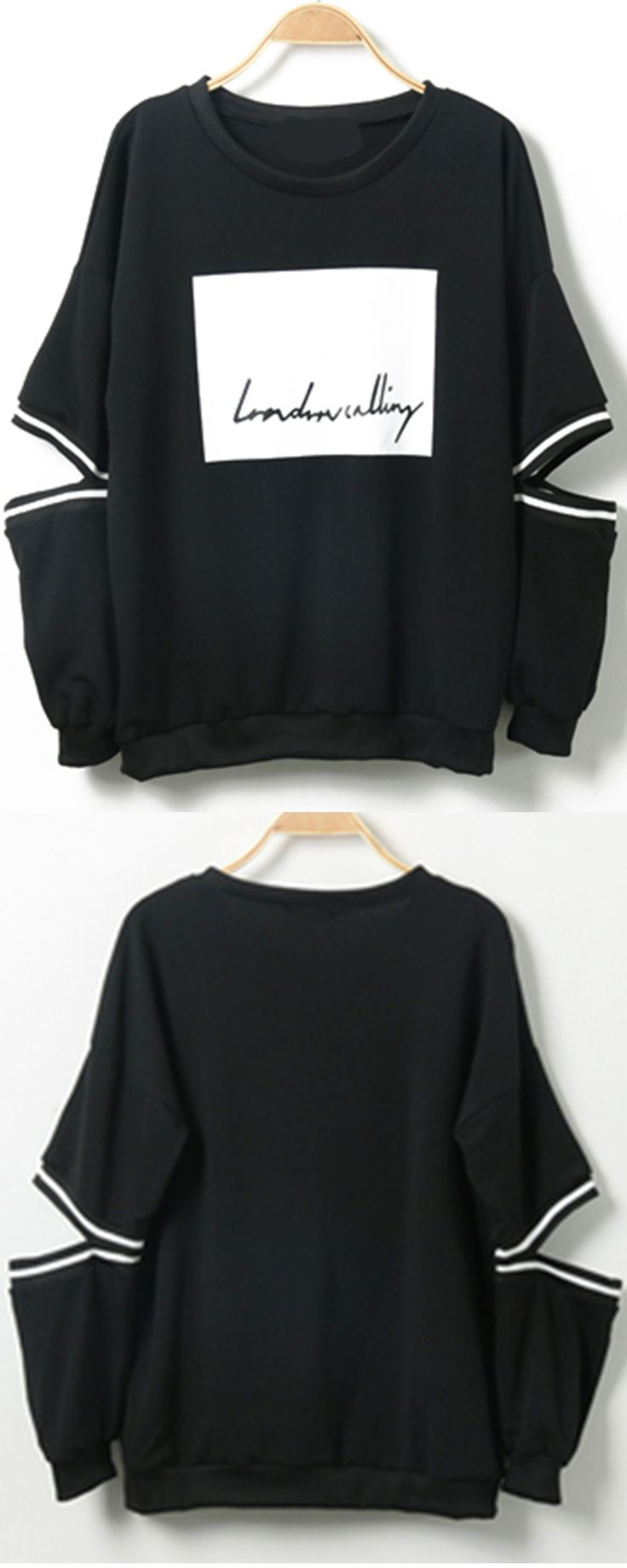 Funny cool pullover sweatshirt in black with cutout long sleeve at romwe.Only $14.BUY 2 GET 1 60% OFF now.