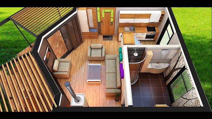 Tiny house interior, 50m2 full accommodation