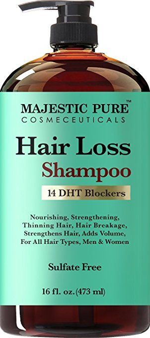Hair Loss Shampoo for Men & Women from Majestic Pure Offers Natural Ingredient Based Effective Solution, Add Volume and Strengthen Hair, Sulfate Free, 14 DHT Blockers, 16 fl oz