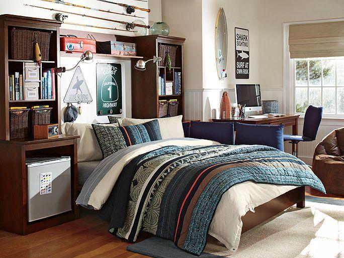 1000 ideas about boys fishing bedroom on pinterest - Teenage bedroom furniture with desks ...