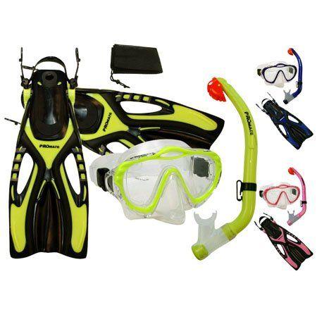 PROMATE Junior Snorkeling Scuba Diving PURGE Mask DRY Snorkel Fins w/ Mesh Bag Set for kids/ SCS0041 - http://scuba.megainfohouse.com/promate-junior-snorkeling-scuba-diving-purge-mask-dry-snorkel-fins-w-mesh-bag-set-for-kids-scs0041.html/