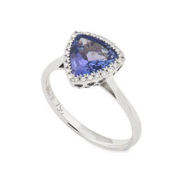 Ροζέτα δαχτυλίδι Κ18 από λευκόχρυσο με ορυκτό μπλε τανζανίτη και διαμάντια μπριγιάν περιμετρικά | Δαχτυλίδια ΤΣΑΛΔΑΡΗΣ στο Χαλάνδρι #δαχτυλιδι #τανζανιτης #διαμαντια #ορυκτες