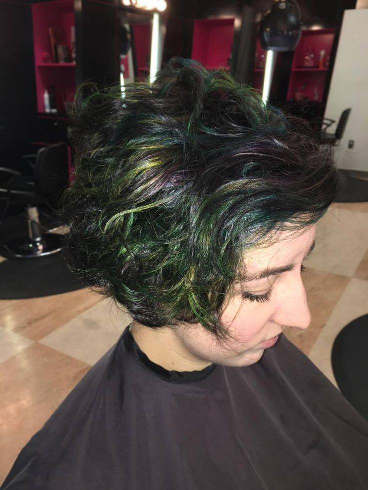 Emily decided it was time for a new look. Ginny took inspiration from the oil slick color trend and personalized it just for her. This style is an excellent way to achieve fun colors without being over the top.