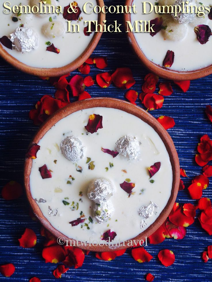 My Tryst With Food And Travel: DOODH PULI/SEMOLINA AND COCONUT DUMPLINGS IN THICK...