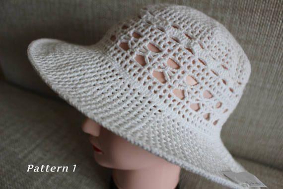 Sombrero de punto, sombrero del algodón, para mujeres sol sombrero, sombrero de verano, sombrero del ganchillo de la mano