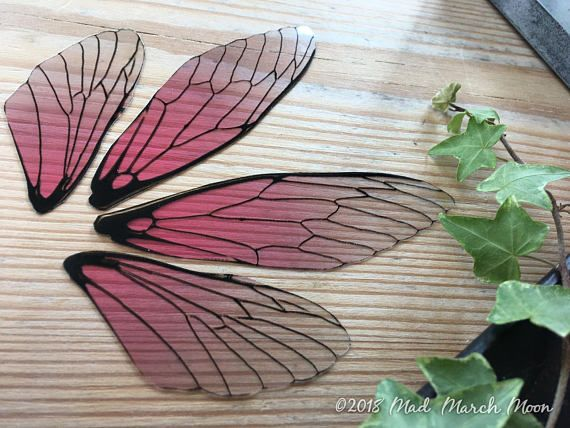 Fairy Wings For Craft Large Size Rose Glow Transparent Pink Blush Wings Cicada Style Diy Fairy Wings Craft Wings Art Doll Wings Diy Fairy Wings Fairy Wings Types Of Fairies