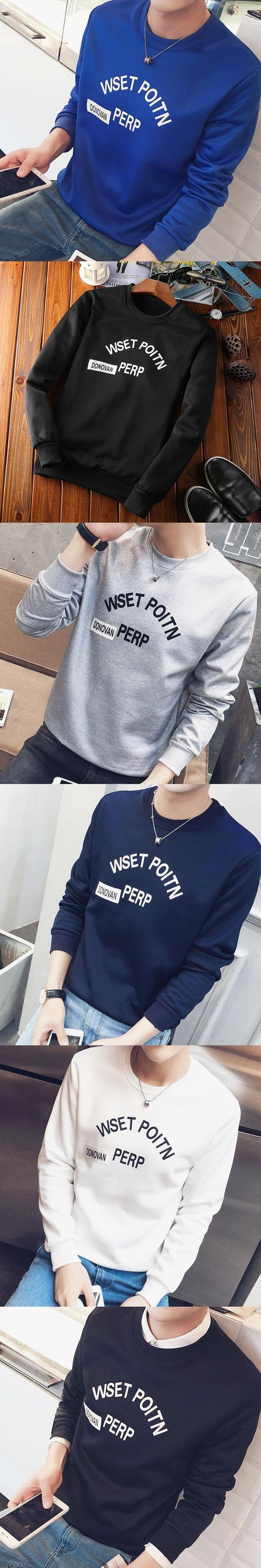 2017 Spring Slim Cut Sweatshirt Men Casual Print Pullover Basic Tops Fashion O-neck Sweatshirt for Boys