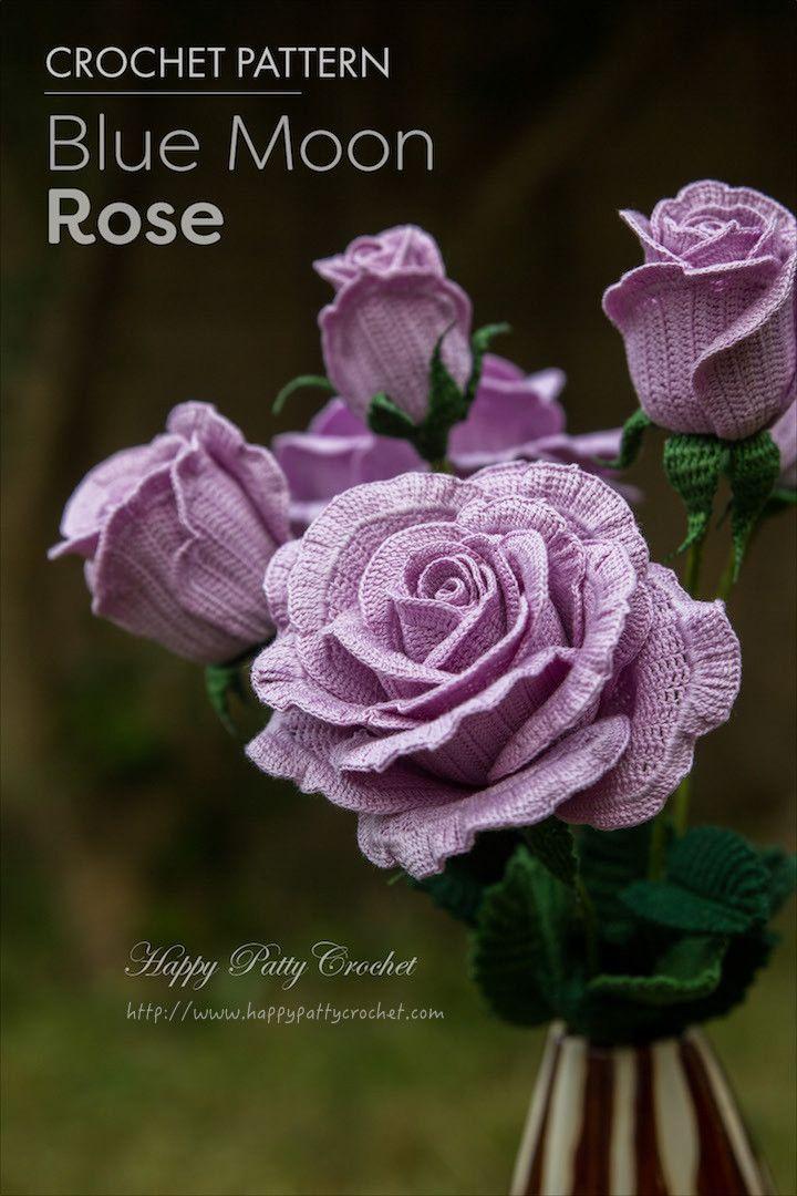 Crochet Flower Patterns Free Rose : 25+ best Crochet Rose Patterns ideas on Pinterest Easy ...