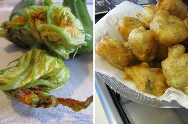 kuchnia pod wulkanem: Zeppoline di ciurilli (fiori di zucchine), czyli przekaska z smazonego ciasta drozdzowego z kwiatami cukinii