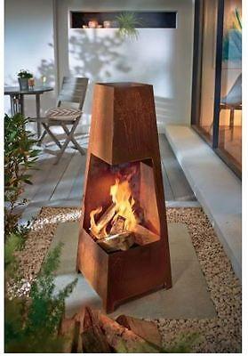 Terrassenkamin RUSTIK Außenkamin 100 cm H Rostoptik Terrassenofen Garten Feuer