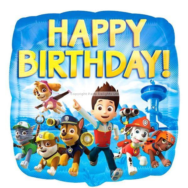 """Complete your Paw Patrol party decorations with this cute 18"""" foil Paw Patrol balloon featuring all your favourite characters from the TV show!"""
