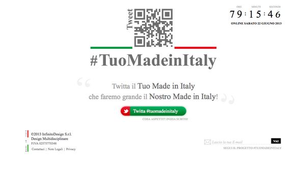 Try to tweet something like text and picture with hashtag #TuoMadeInItaly. You will se the tweet in a new #design platform of what are the #madeinitaly by the common people.