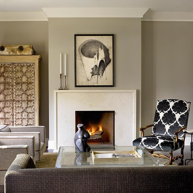 We Adore The Small And Clean Lip On This Fireplace In Michael Del Piero  Eclectic Traditional Transitional Living Room. Her Distinct Aesthetic Fuses  Rough ...