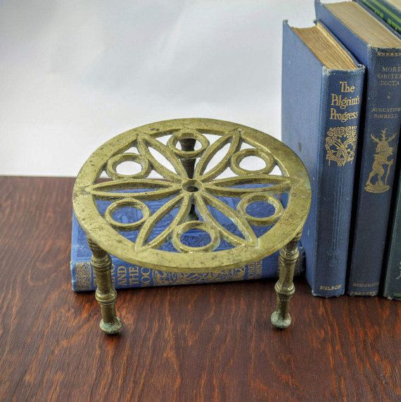 Antique Brass Trivet Stand  Vintage Pierced by LoAndCoVintage