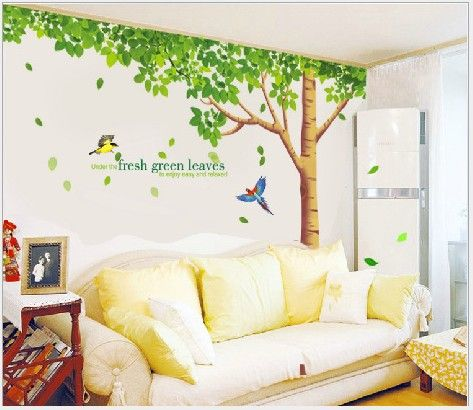 Green Tree Wall Sticker Fresh Green Leaves Wall Decal Large Tree Wall Paper  For Bedroom Living Room 256cm*88cm