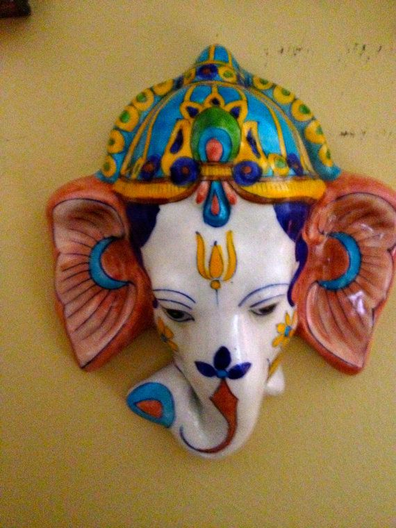 Handpainted Porcelain GoodLuck Ganesha for the by outofdrawers, $24.00