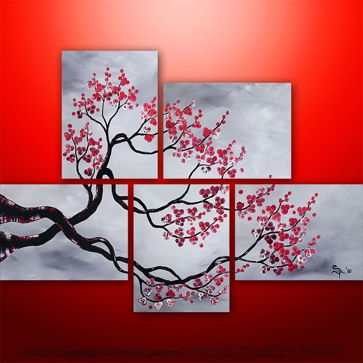 Abstract Modern Landscape Tree Asian Zen Art by Gabriela 44x32 black white red.