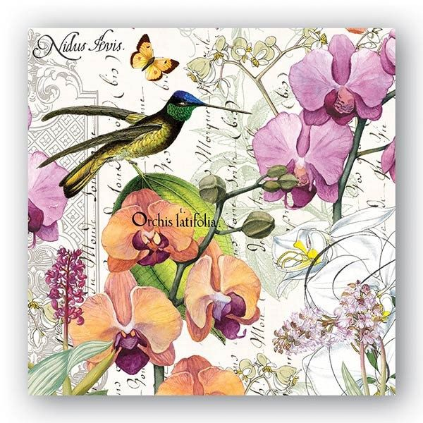 Hummingbird NAPKINS, Tropical Napkins, Orchid Napkins, Nature Art Napkins, Bird Napkins, Michel Design Napkins, Decoupage Napkins by PaperNapkinsShop on Etsy