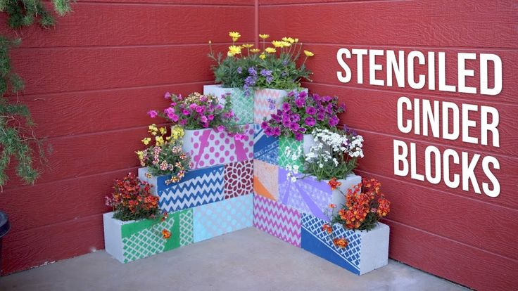 DIY Stenciled Cinder Block Planters // Garden Answer