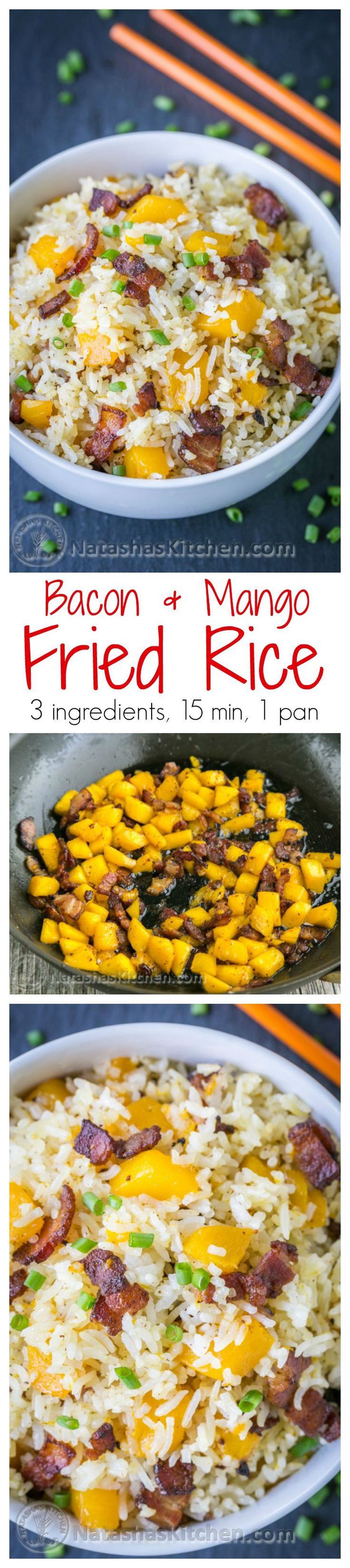 We love this bacon mango fried rice! The mango caramelizes with the crisp bacon - so good! 3 ingredients, 1 pan, 15 min. You can't beat this bacon fried rice! | natashaskitchen.com
