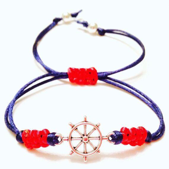 Ships Wheel Nautical Bracelet -Macrame Bracelet -Charm Bracelet -Ships Wheel Charm Bracelet -Mens Nautical Bracelet-Womens Nautical Bracelet